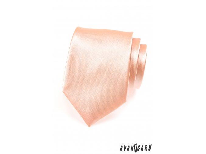 Bledě lososová jednobarevná lesklá kravata