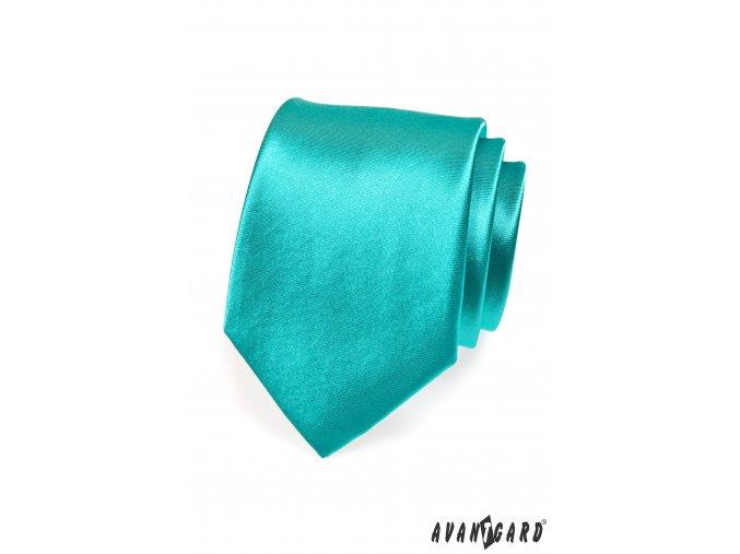 Tyrkysová jednobarevná lesklá kravata