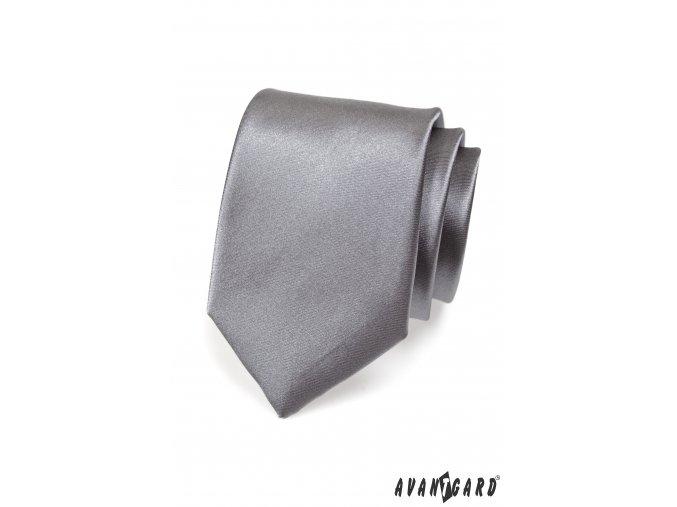 Světle grafitová jednobarevná lesklá kravata