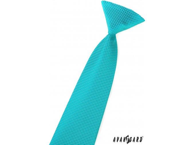 Tyrkysová dětská kravata s hadí strukturou