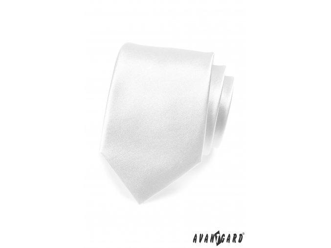 Bílá jednobarevná lesklá kravata
