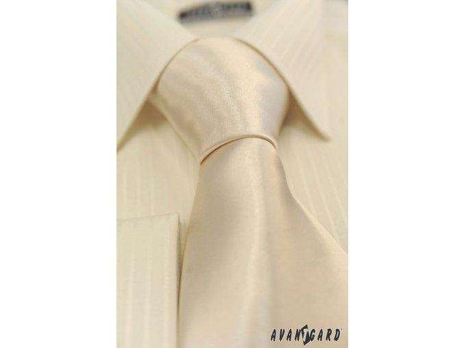 Smetanová jednobarevn lesklá kravata