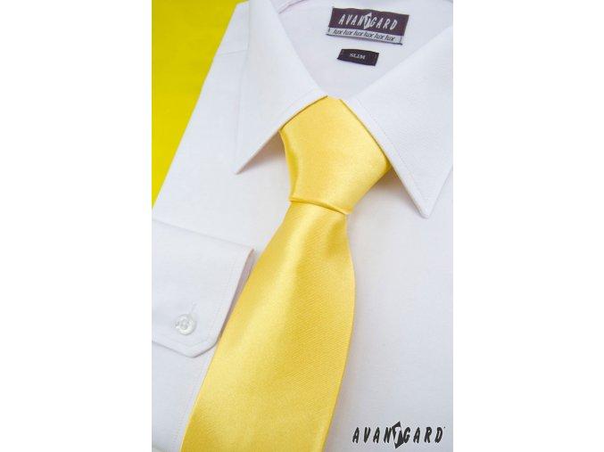 Žlutá jednobarevná lesklá kravata