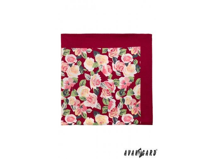 Bordó kapesníček s růžemi
