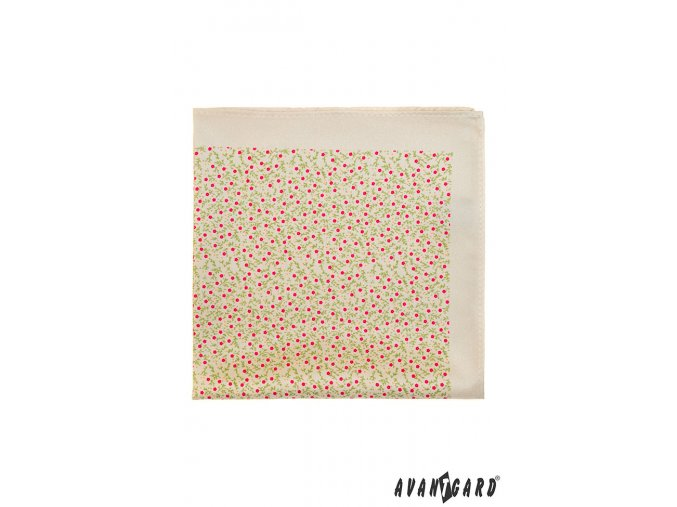 Béžový kapesníček s drobným růžovým vzorem
