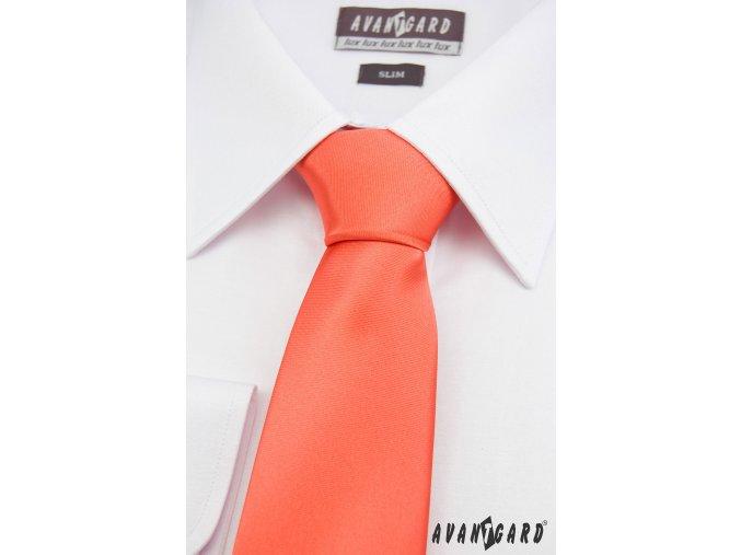 Korálová jednobarevná lesklá kravata