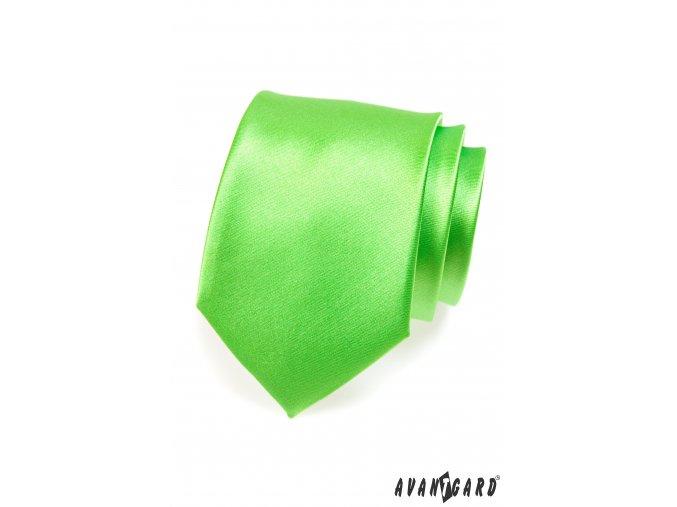 Světle zářivě zelená jednobarevná lesklá kravata