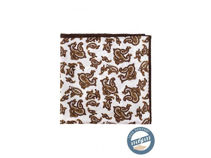 Bílý hedvábný kapesníček s hnědým vzorem