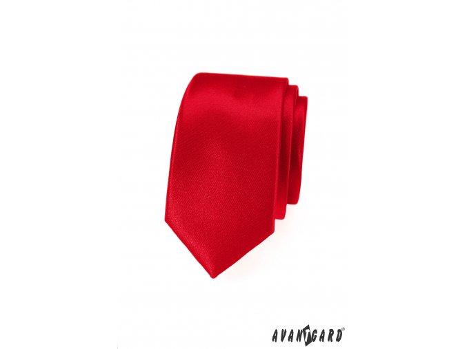 Zářivě červená slim kravata