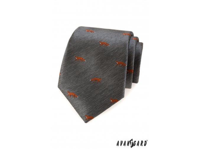 Šedá kravata se vzorem - liška