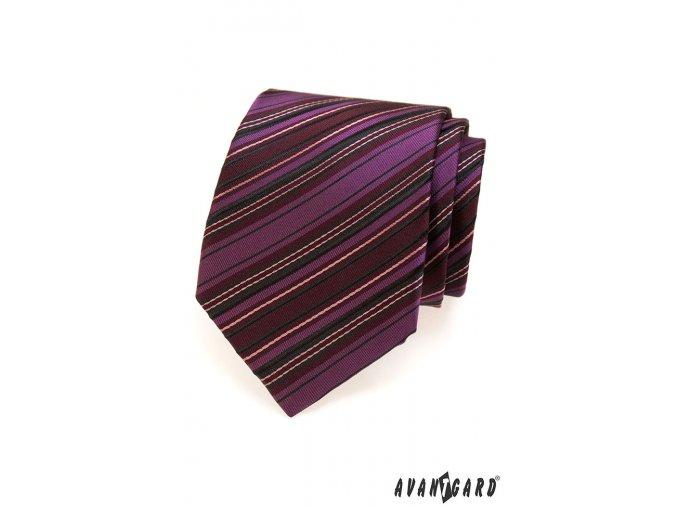 Tmavě růžová kravata s barevnými pruhy