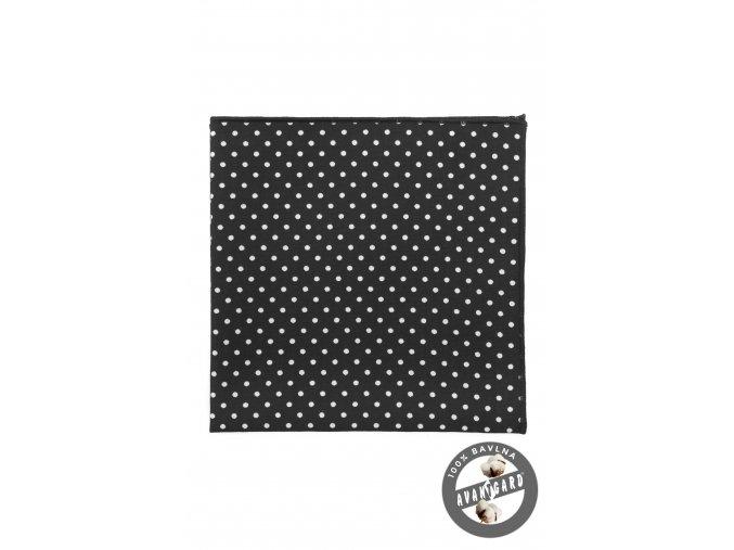 Černý bíle puntíkovaný kapesníček