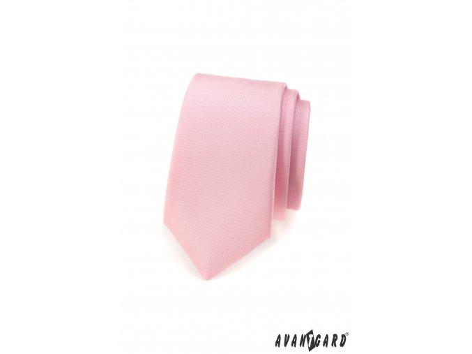 Světle růžová matná slim kravata