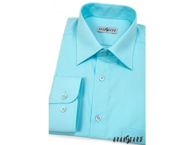 Tyrkysová pánská klasická košile, dl.rukáv, 451-25 V25
