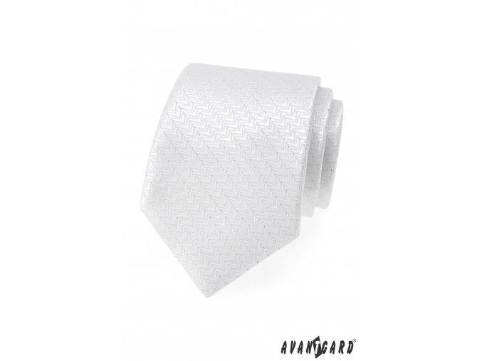 Bílá luxusní kravata s jemnými proužky