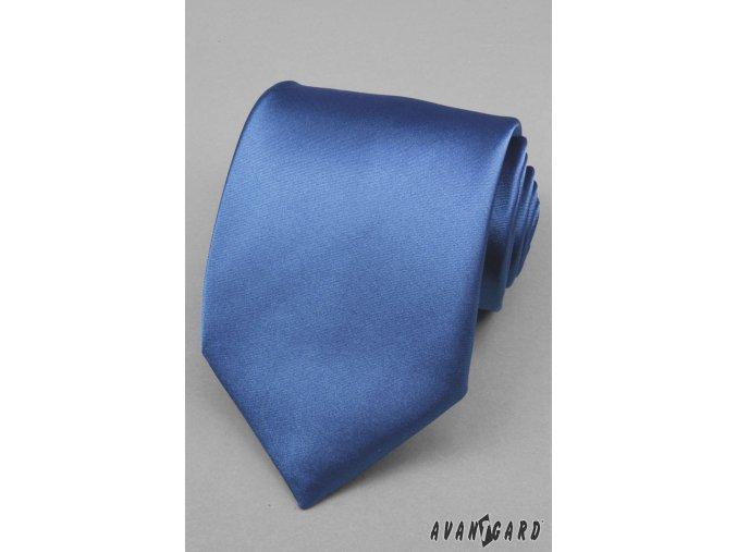 Modrá jednobarevná lesklá kravata