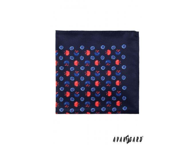 Velmi tmavě modrý kapesníček s květy