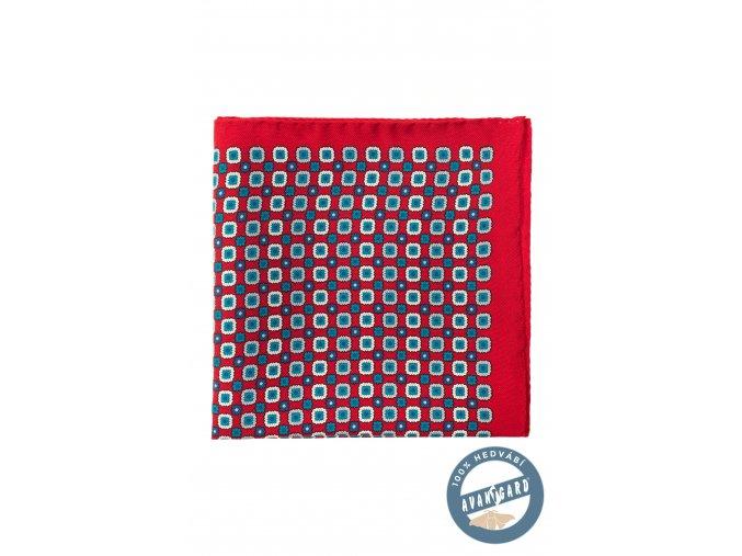 Červený kapesníček s drobným tyrkysovým vzorem