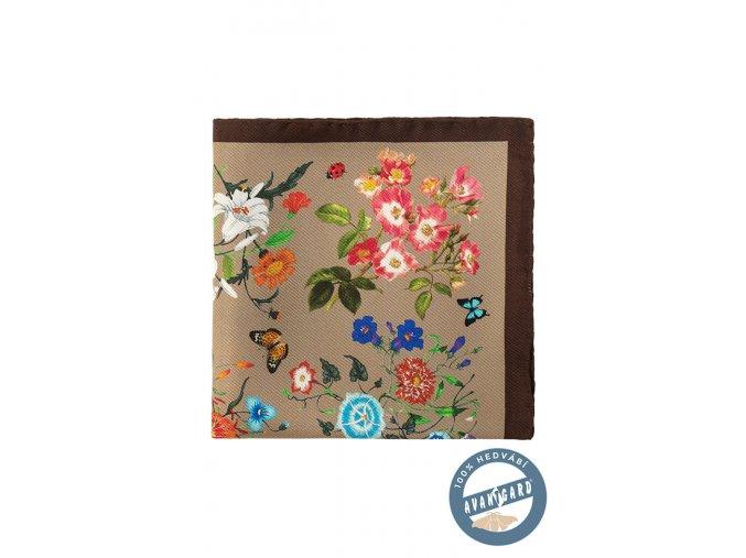 Béžový květovaný kapesníček s hrubým okrajem