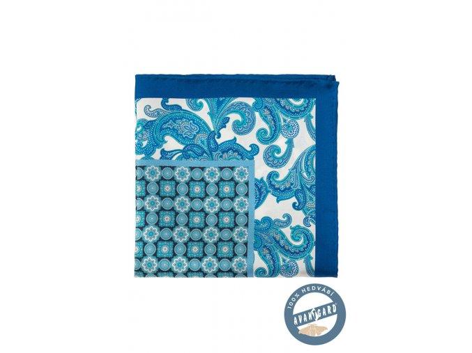 Modrý kapesníček se zajímavým vzorem