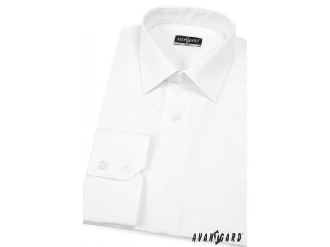 Bílá pánská slim fit košile,dl. rukáv, 114-1 V1