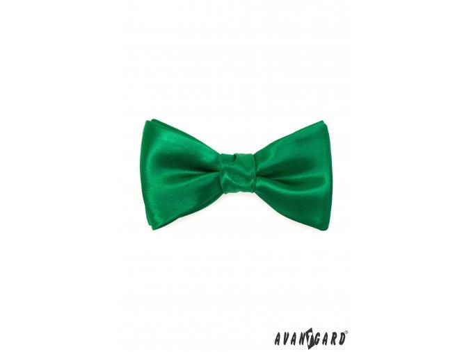 Smaragdově zelený pánský vázací motýlek + kapesníček do saka