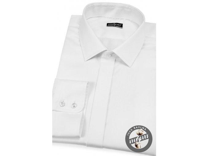 Bílá pánská SLIM FIT košile s krytou légou, 132-91