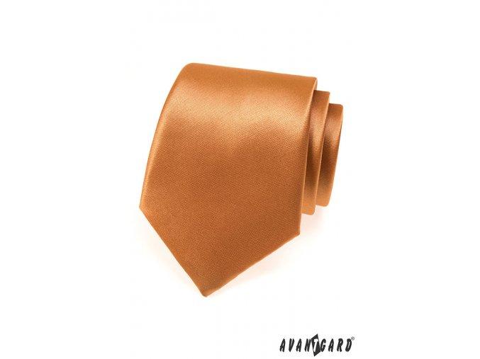 Světle hnědá jednobarevná lesklá kravata