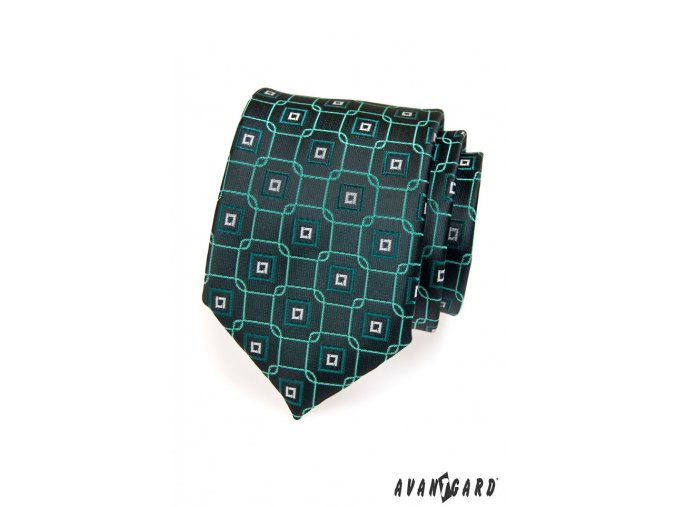 Tmavě zelená kravata s kostkovaným vzorem