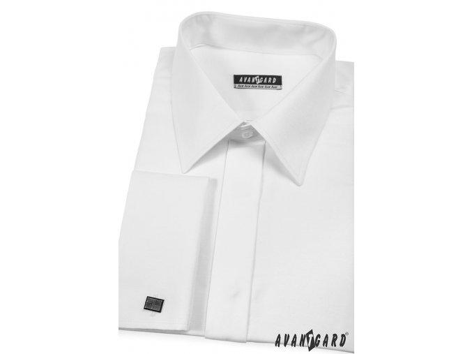 Bílá pánská klasická košile na manžetové knoflíčky, krytá léga, 516-1
