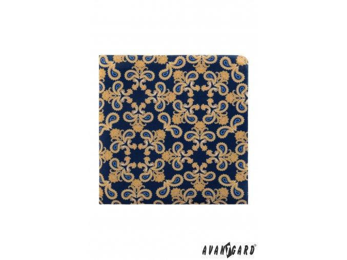 Tmavě modrý kapesníček se výrazným vzorem