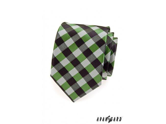 Zelená károvaná kravata