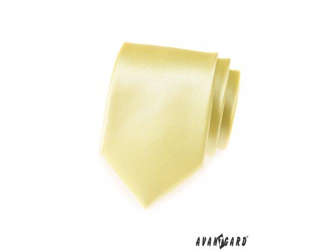 Světle žlutá jednobarevná lesklá kravata