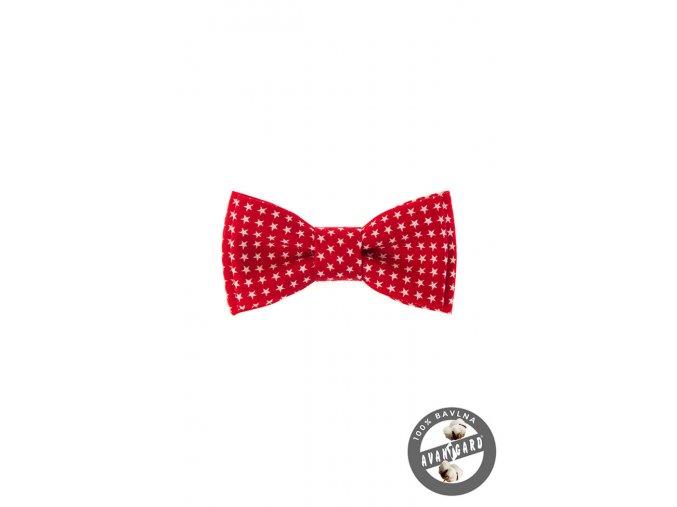 Červený dětský bavlněný motýlek s hvězdičkami
