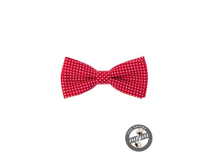 Červený bavlněný pánský motýlek s hvězdičkami + kapesníček do saka