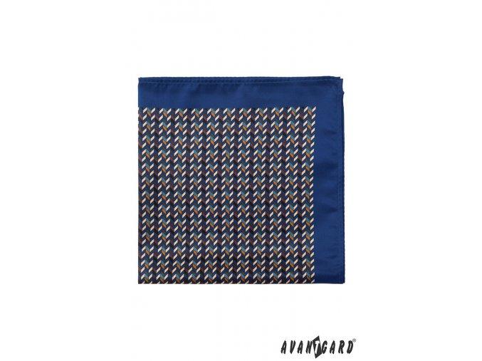 Tmavě modrý kapesníček s trojrozměrným vzorem