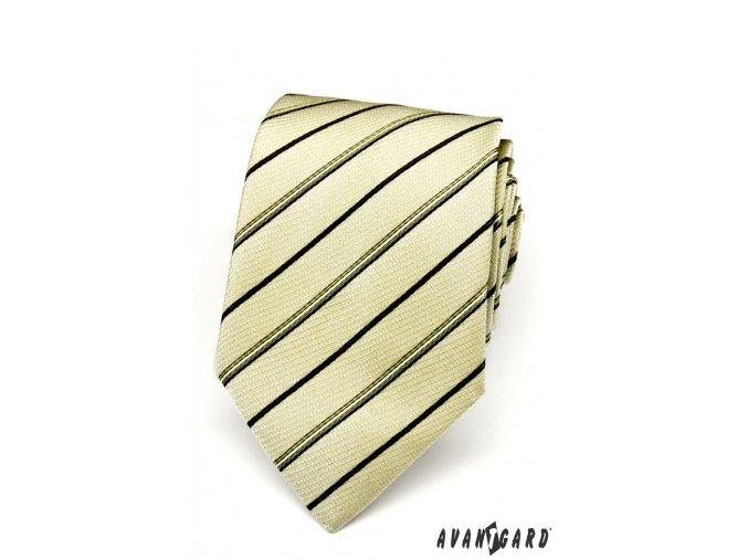 Olivová kravata s proužky