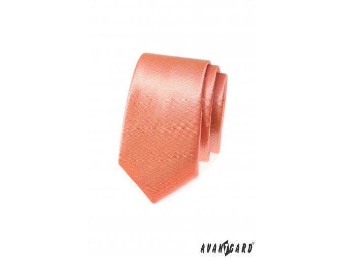 Sytě lososová jemně lesklá slim kravata