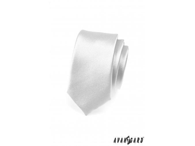 Stříbrná jednobarevná jemně lesklá SLIM kravata