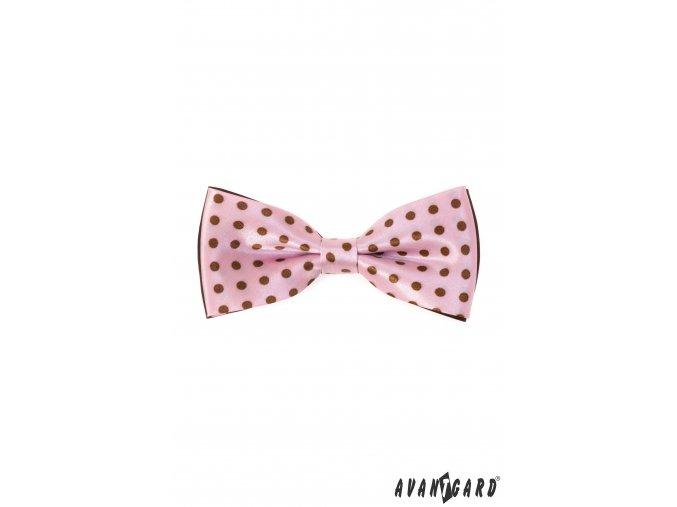 Růžový pánský motýlek s hnědými tečkami + kapesníček do saka (12,5 cm)