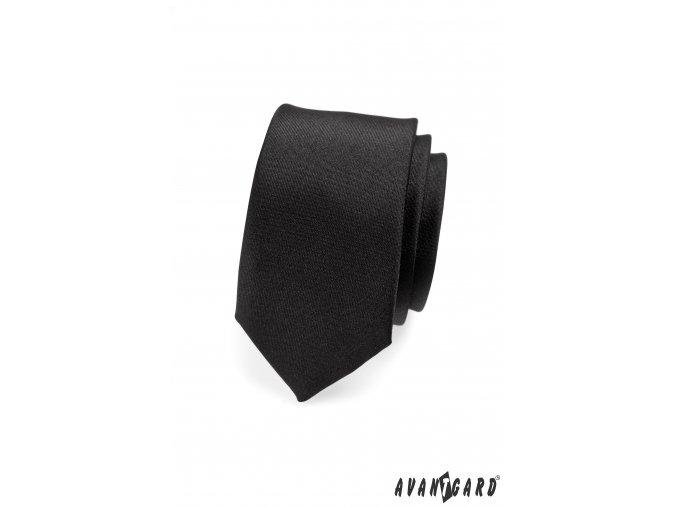 Matná černá slim kravata