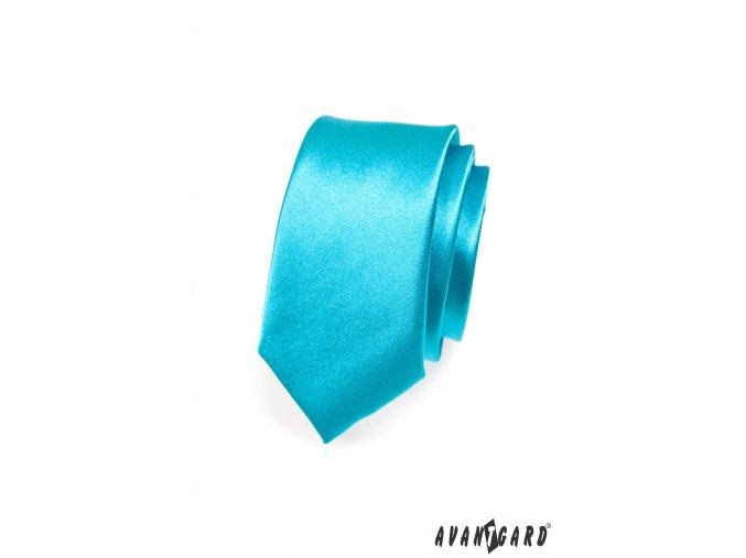 Zářivě tyrkysová jemně lesklá SLIM kravata