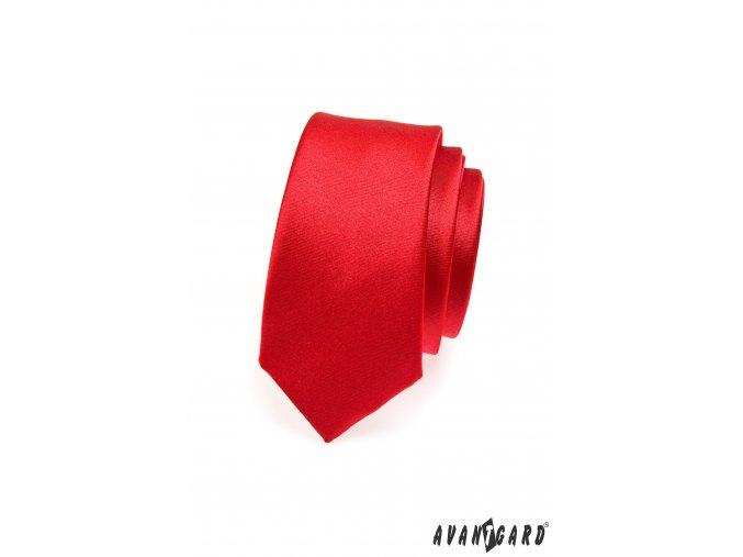 Zářivě červená jednobarevná SLIM kravata