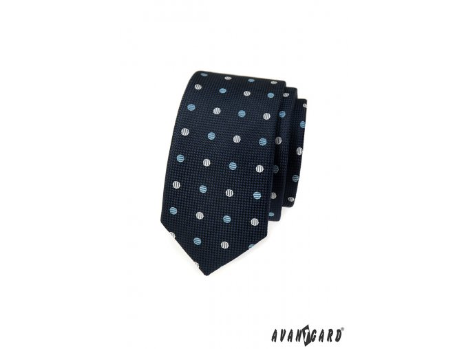 Velmi tmavě modrá slim kravata s barevnými puntíky