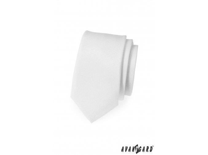 Matná bílá slim kravata