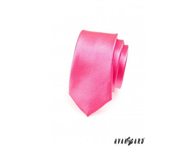 Zářivě růžová jemně lesklá jednobarevná SLIM kravata