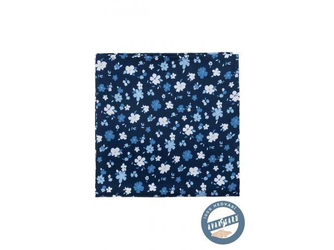 Modrý kapesníček s bílými a modrými květy