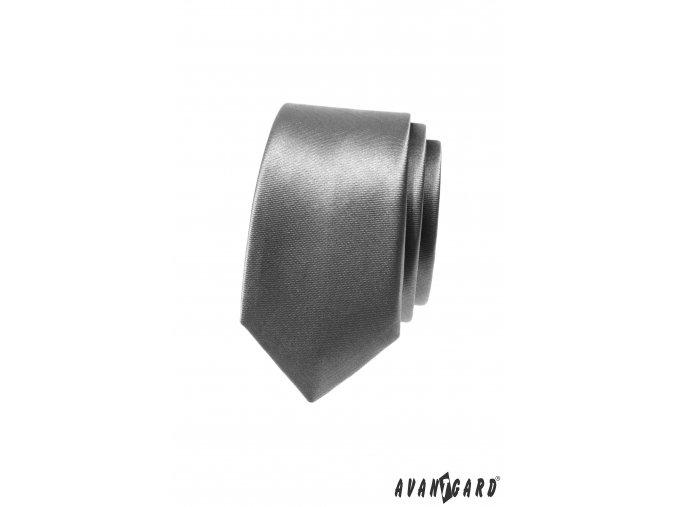 Světle grafitová jednobarevná jemně lesklá SLIM kravata