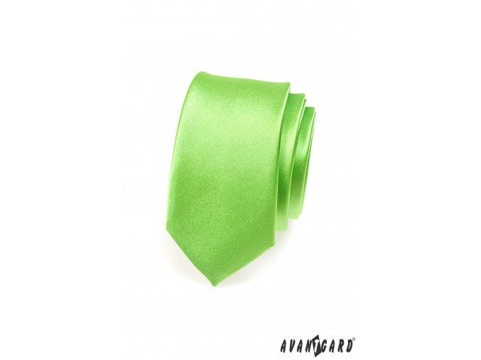 Velmi světle zelená jemně lesklá SLIM kravata