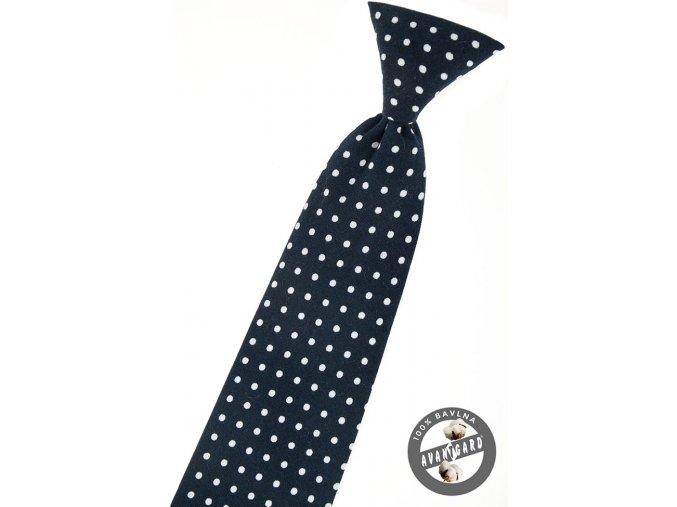 Velmi tmavě modrá dětská kravata s puntíky